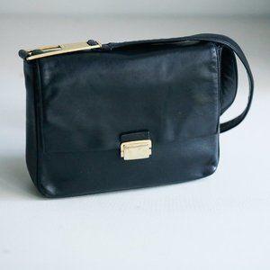Perlina Black Soft  Lambskin Leather Small Rectangular Minimalist Crossbody